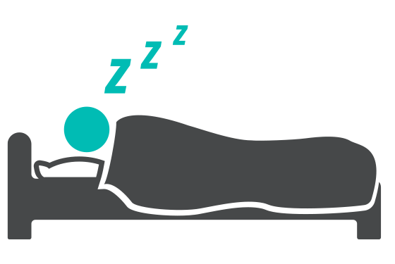 Illustration of a person sleeping on a bed