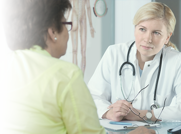 Woman meeting with provider
