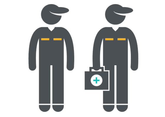 Illustration of two Paramedics carrying a stretcher