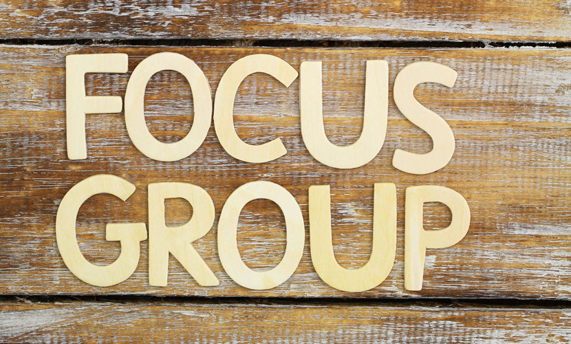 focus group text on wood
