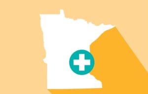 outline of minnesota with health icon
