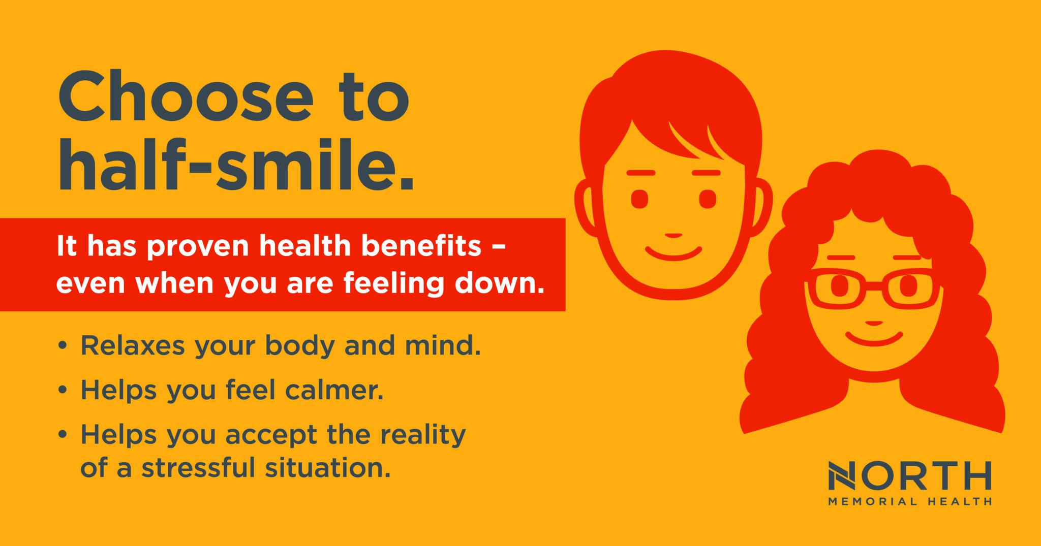 half smile benefits to reduce emotional distress