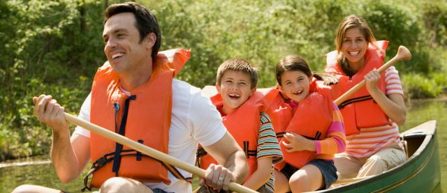 Family canoe ride